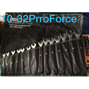 PRO Force Набор рожково-накидных ключей (14 пр.) на полотне 10-32